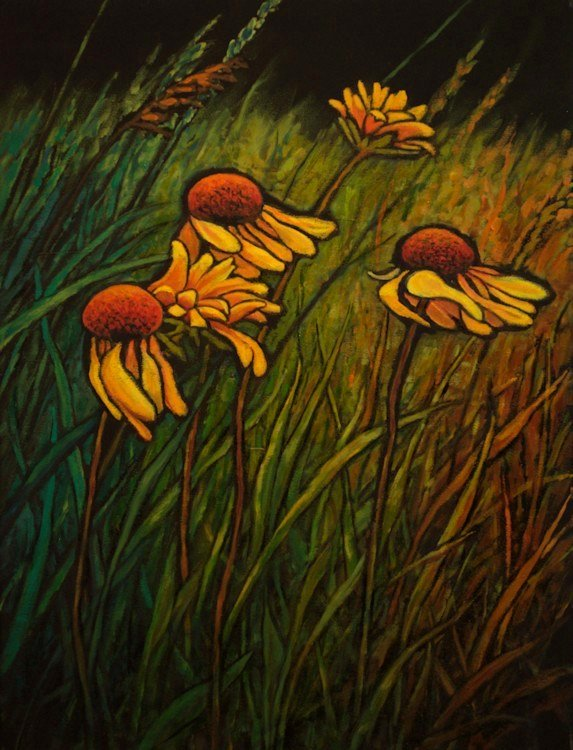 Black Eyed Susans, Oil Painting by Ann McLaughlin