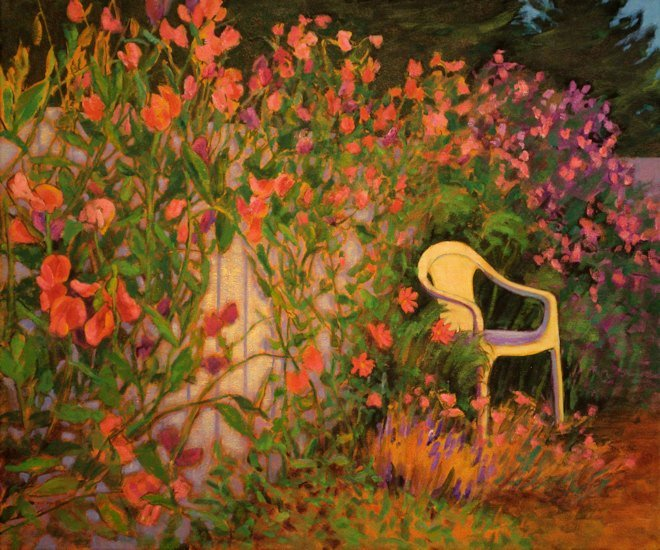 Sweet Pea Sanctuary, Oil Painting by Ann McLaughlin