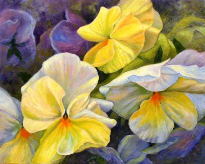Pansies in Yellow and White, Oil Painting by Ann McLaughlin