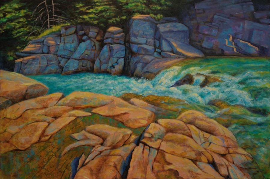 Castle River Rocks, Landscape Oil Painting by Ann McLaughlin