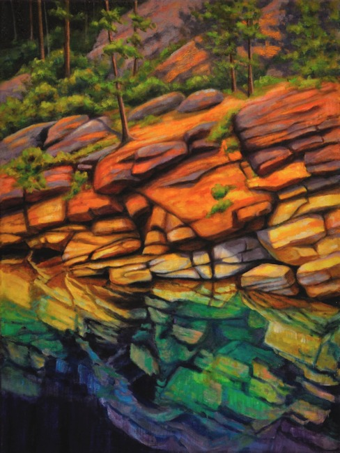 Horseshoe Lake Rocks, Landscape Oil Painting by Ann McLaughlin