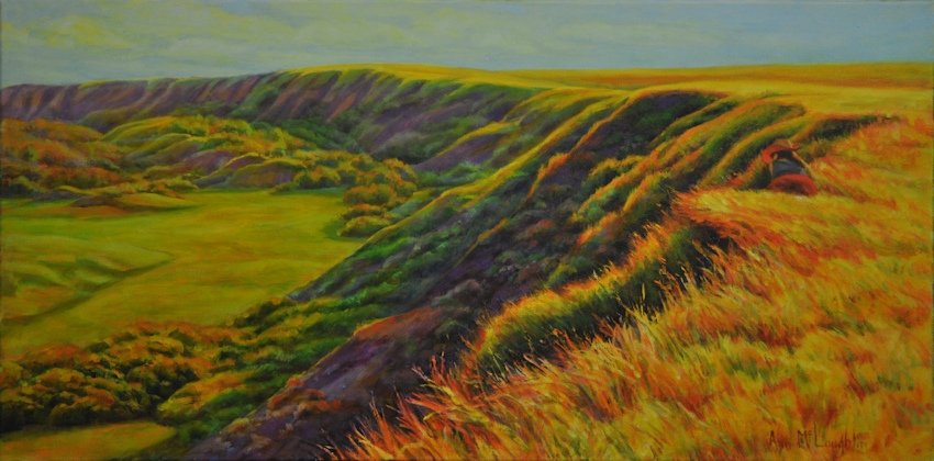 Sandra at Dry Island Buffalo Jump, Landscape Oil Painting by Ann McLaughlin