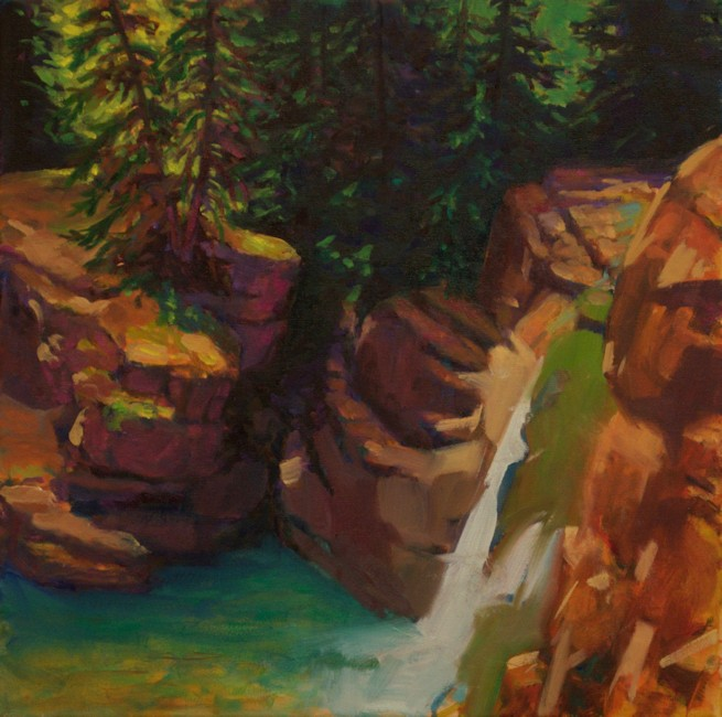 Yahatinda Waterfall, Landscape Oil Painting by Ann McLaughlin