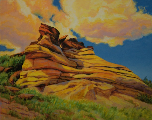 Writing on Stone, Landscape Oil Painting by Ann McLaughlin