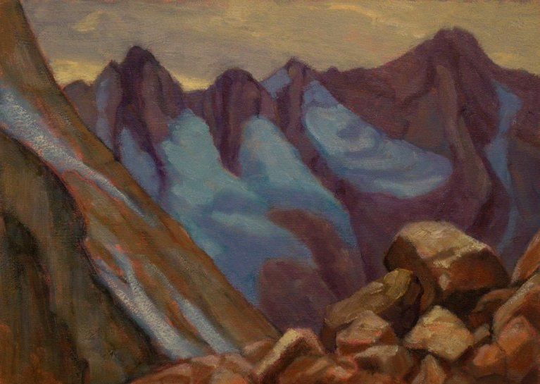 Bugaboos Blues, Plein Aire Oil Painting by Ann McLaughlin