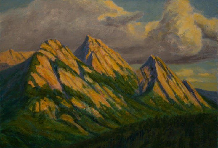 Peaks in Late Light, Plein Aire Oil Painting by Ann McLaughlin