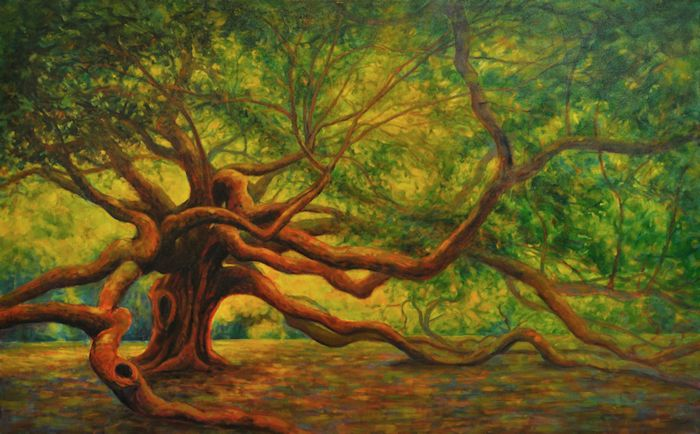 Angel Oak, Oil Painting by Ann McLaughlin