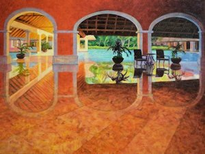 Barcelo Mayan Foyer, Abstract Oil Painting by Ann McLaughlin