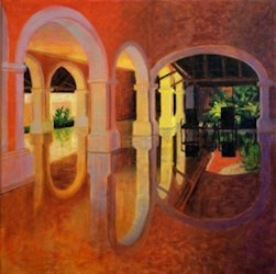 Barcelo Mayan Interior, Abstract Oil Painting by Ann McLaughlin