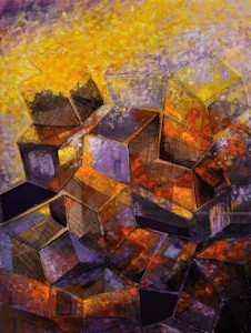 Little Boxes, Abstract Oil Painting by Ann McLaughlin
