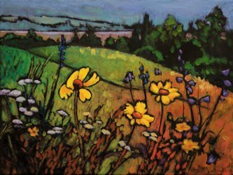 Black Eyed Susans Yahatinta, Oil Painting by Ann McLaughlin