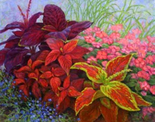 Coleus with Impatiens and Lobelia, Oil Painting by Ann McLaughlin