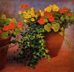 Nasturtiums and Pansies, Oil Painting by Ann McLaughlin
