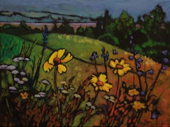Black Eyed Susans Yahatinta, Landscape Oil Painting by Ann McLaughlin
