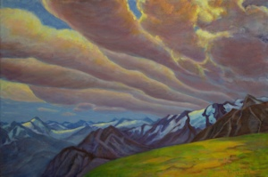 Bugaboos Clouds, Landscape Oil Painting by Ann McLaughlin