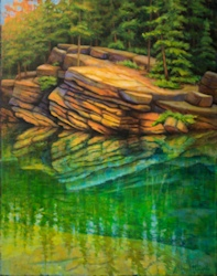 Horeshoe Lake Cliff Jump, Landscape Oil Painting by Ann McLaughlin