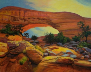 Wilsons Arch II, Landscape Oil Painting by Ann McLaughlin