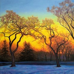 Winter Sunset, Oil Painting by Ann McLaughlin